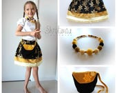Golden Snowflakes - Girls Clothing Golden Yellow Black Set Skirt Wooden Knitted Beads Necklace Crochet Purse