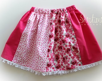 Scarlet Rose - Girls Skirt Scarlet Pink Lace Flowers