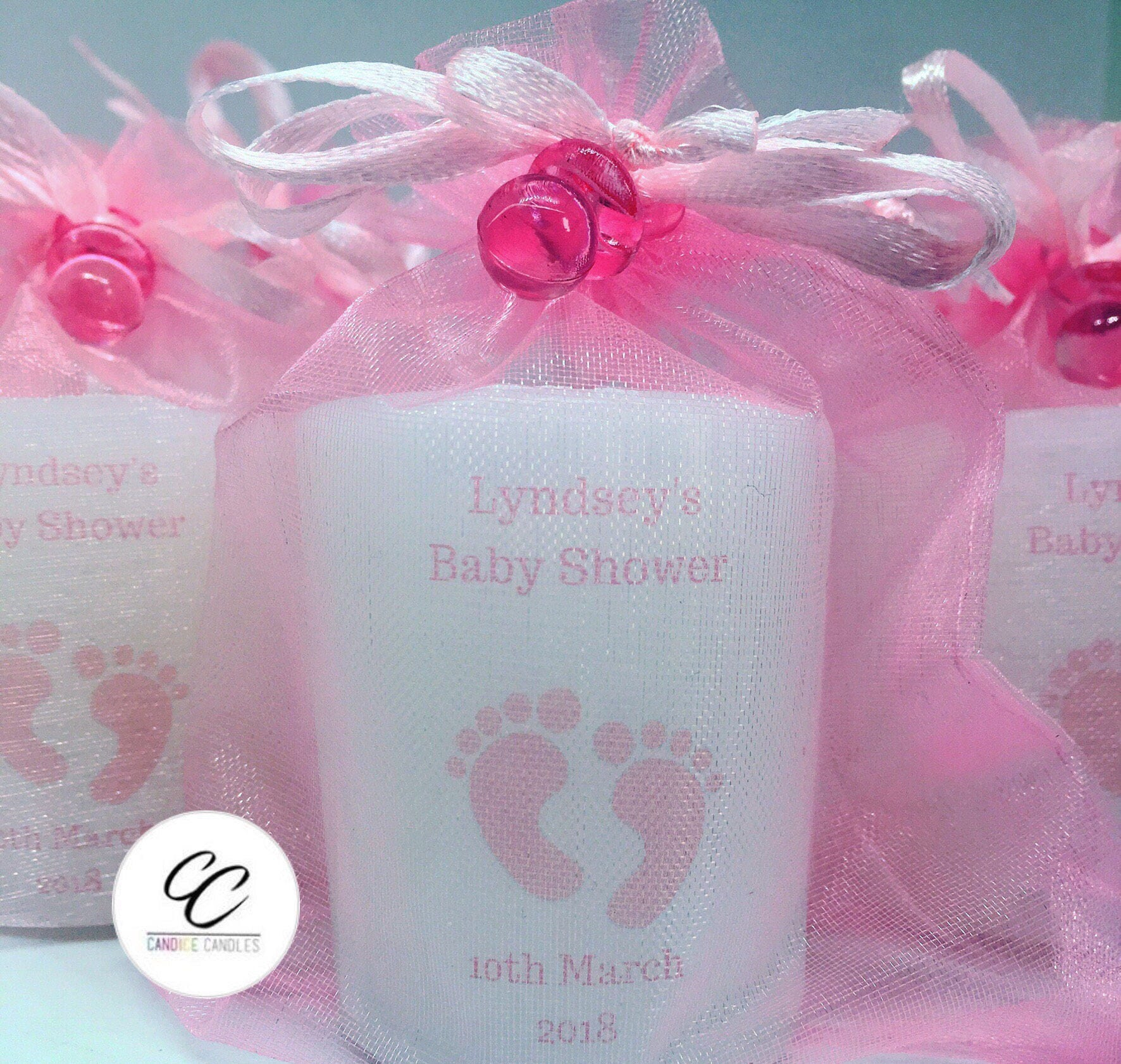 Large Handmade Personalised baby shower Votive Candle Favours