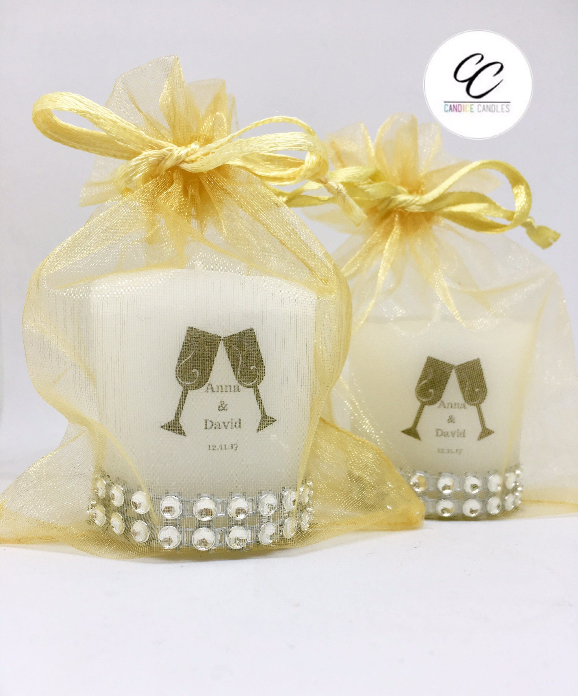 Diamonte Large Handmade Personalised Champagne Glass Wedding Votive ...