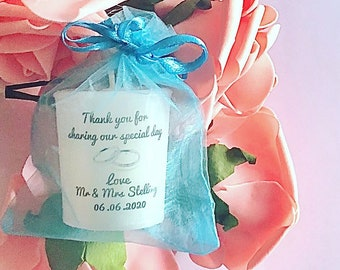 Candice Candles Large Handmade Personalised Wedding Votive Candle Favours (Height 4.5cm , Diameter 3.5cm) 20 plus candles free postage