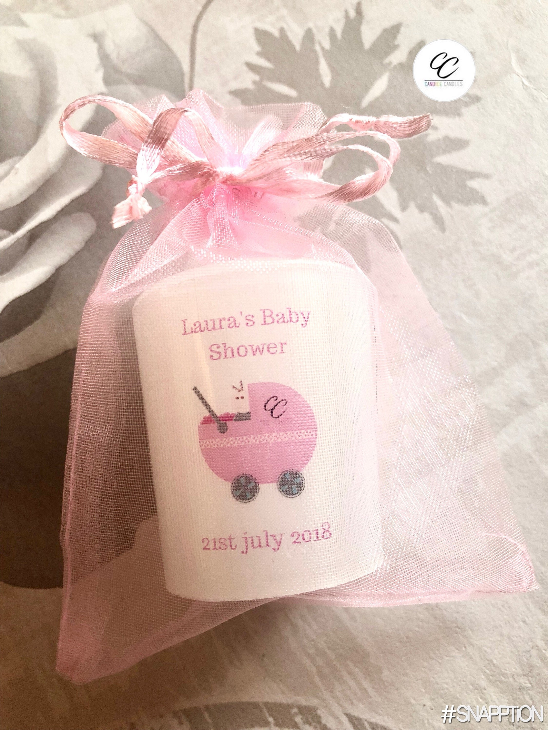 Large Handmade Personalised baby Shower Buggy Design Votive Candle ...