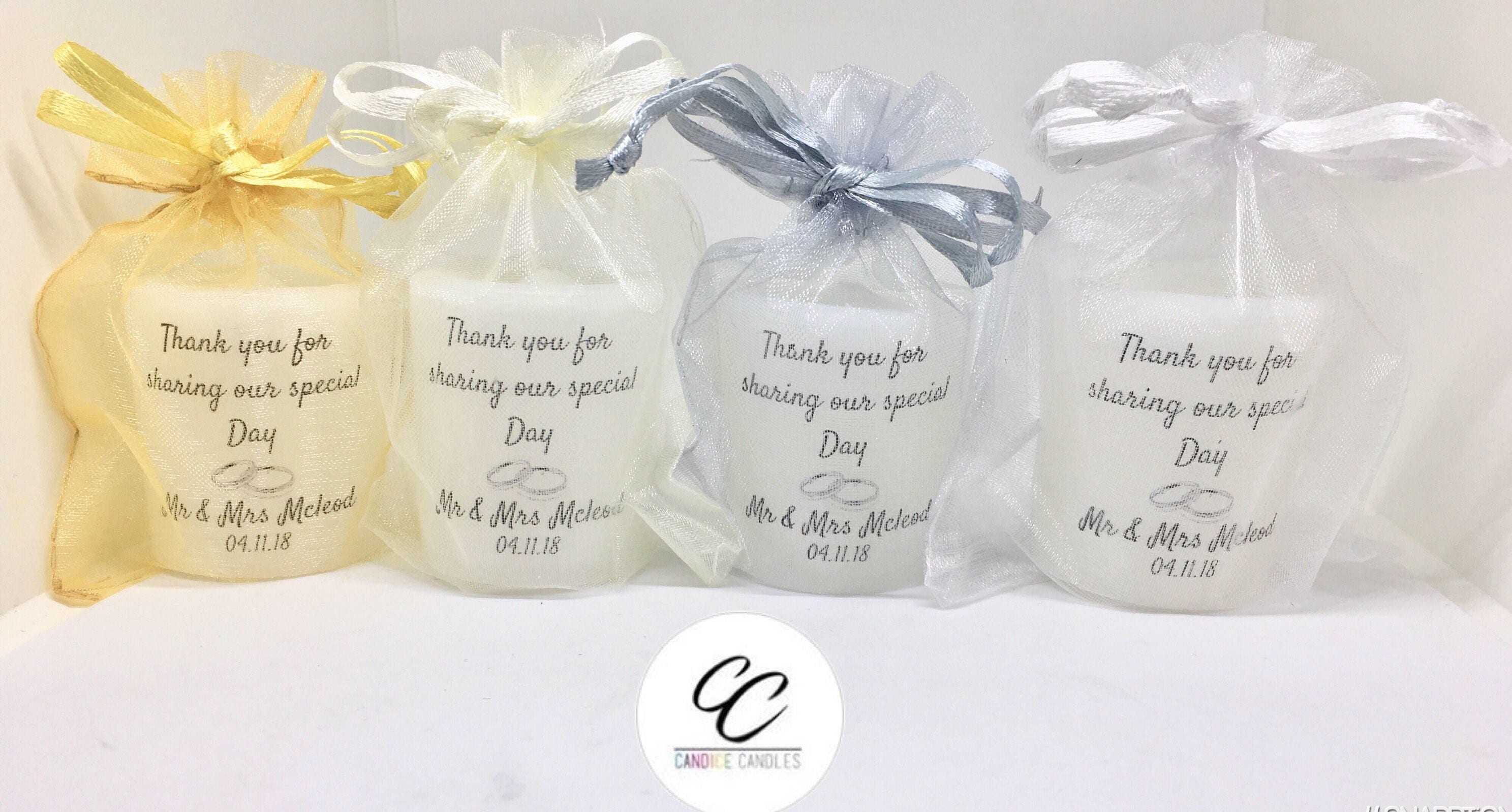 Large Handmade Personalised Wedding Votive Candle Favours