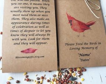 Funeral favor -  bird seed funeral- bird seed favor- Funeral favor - memorial - wake - momento - Funeral Gift - Memorial keepsake - memor