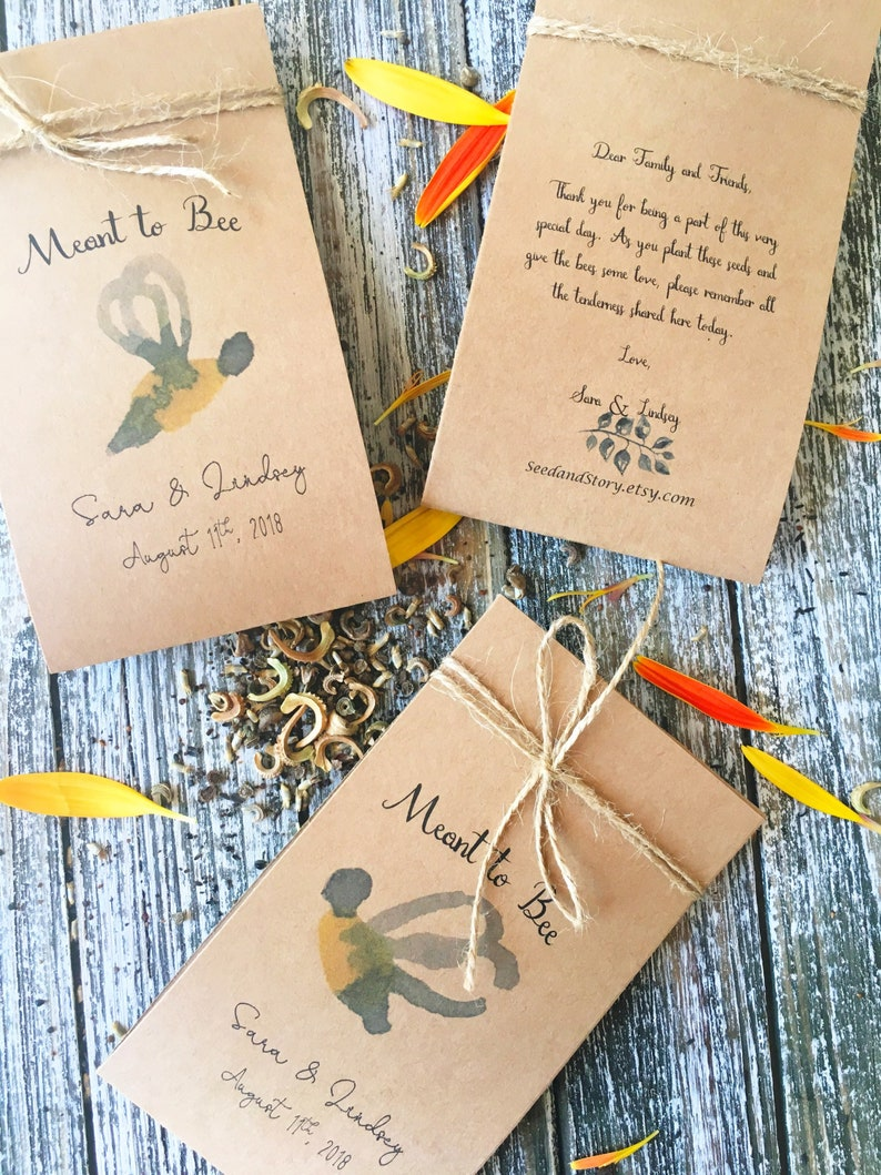 Wedding flower seeds packets Wedding Favor Navy blue Wedding 100 Flower Seed Favors Boho Wedding Favors meant to bee Bee favors