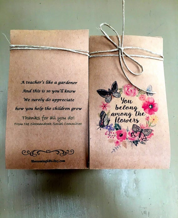 200 Thank You Cards Flower Seed Packets Staff Appreciation Etsy