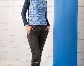 """BIO mix Longsleeve shirt Kinga - """"Azulejo birds navy"""""""