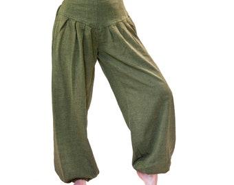 Pump Pants, S - M, L - XL Cotton Olive, Blue, Green, Yellow, Black, Plus Pants Women