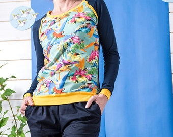 "Bio mix Longsleeve Shirt Kinga-""Colorful birds-dark blue"""