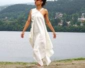 Flax Dress, Linen Cape, Long Linen Dress, Abaya, Linen Clothing, Asymmetrical Summer Dress, One Shoulder Dress, Flax Boho Dress, Party Dress