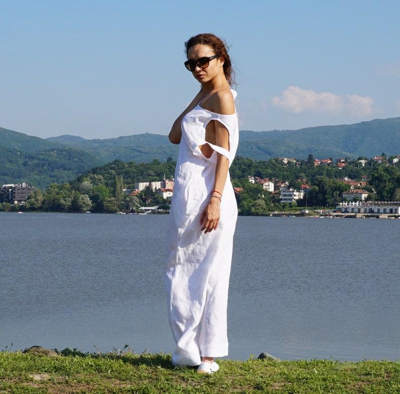 5dcb3682bdae Palazzo Linen Overall Summer White Jumpsuit Lagenlook Linen