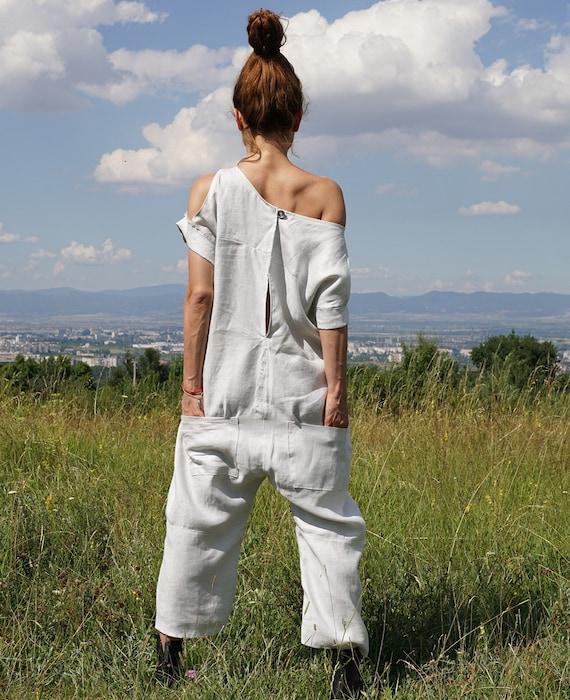 775d3e2427e5 Linen Baggy Overall Summer White Harem Jumpsuit Lagenlook