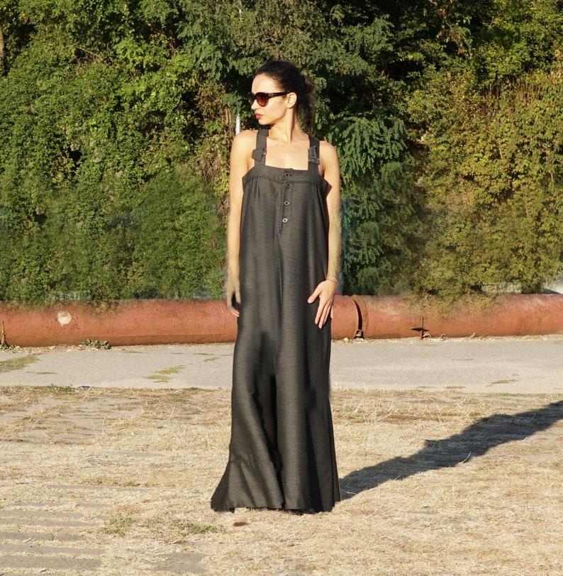 78ad8c107e44 Palazzo Overall Elegant Black Jumpsuit Lagenlook Romper