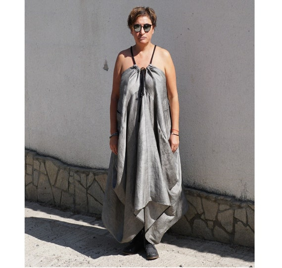 d30b4c7ed9c Linen Maxi Dress Oversized Flare Dress Abaya Caftan Dress