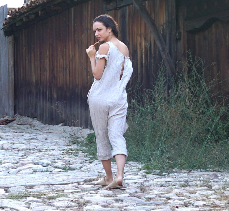 Drop Crotch Jumper Maxi Jumpsuit Linen Baggy Jumpsuit Plus Size Clothing Linen Knitting Linen Clothing One Shoulder Flax Jumper