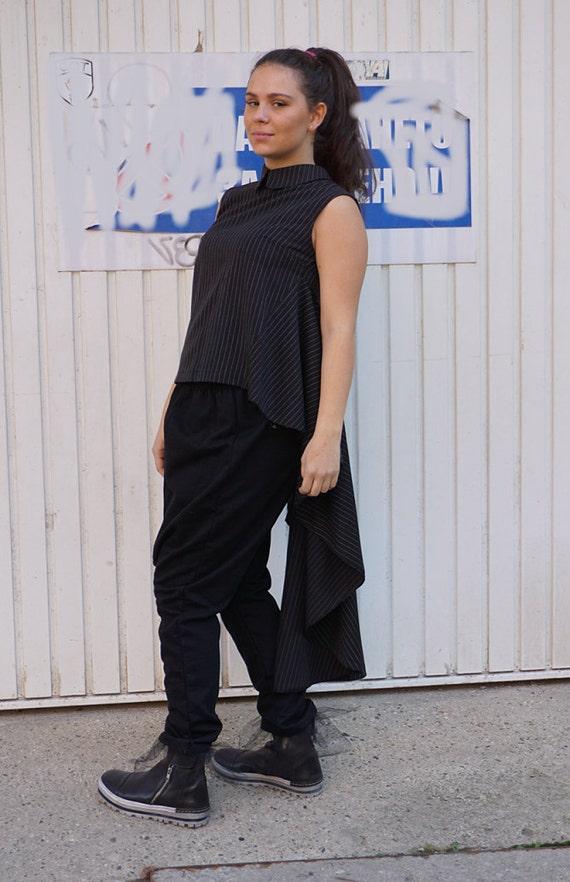Top Tunic Flattering Clubwear Tank Tunic Wear Office Alternative Evening Wear Asymmetric Party Sexy Black qawB1xAO