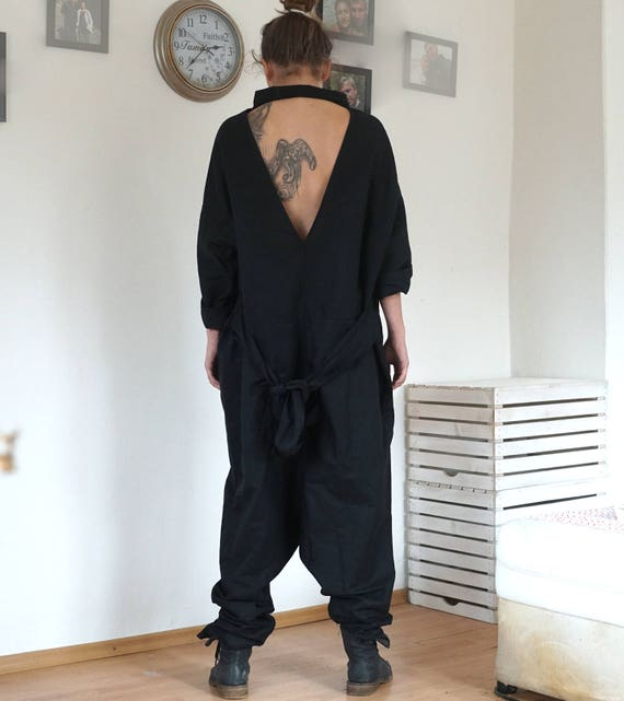 33cbd1484168 Linen Black Oversized Overall Baggy Open Back Jumpsuit Drop
