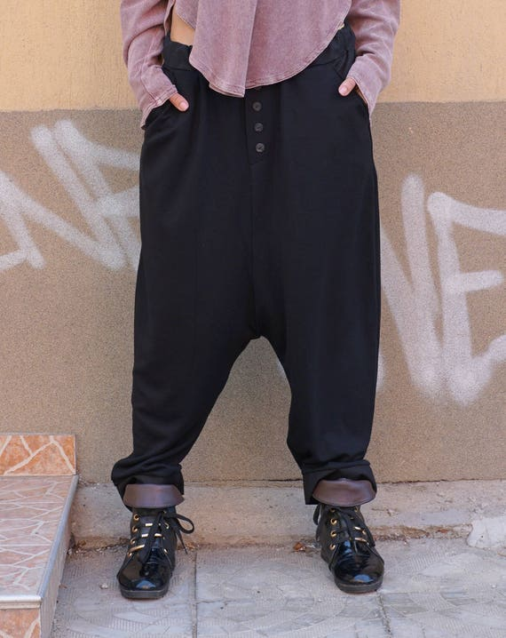 Drop Pants Harem Loose Black Pants Pockets Pants Baggy Winter Crotch Oversized Trousers Fall Side Maxi xpffq0wUI