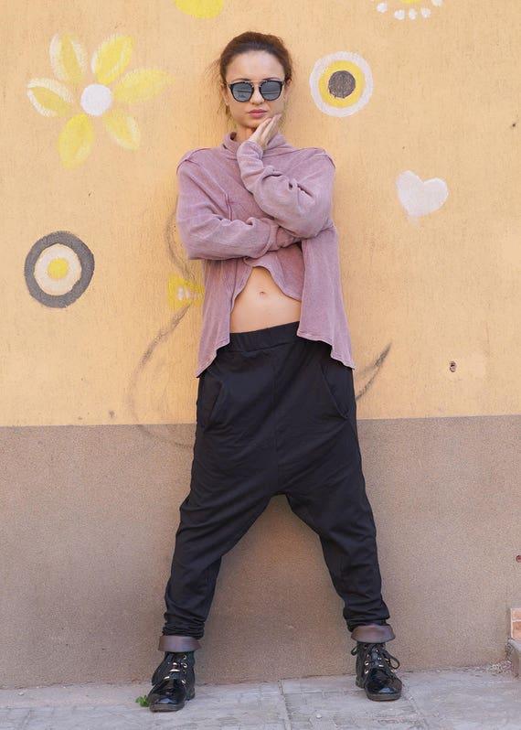 Pants Loose Black Harem Pants Pants Pants Extravagant Drop Oversized Baggy Fall Crotch wv0tZ