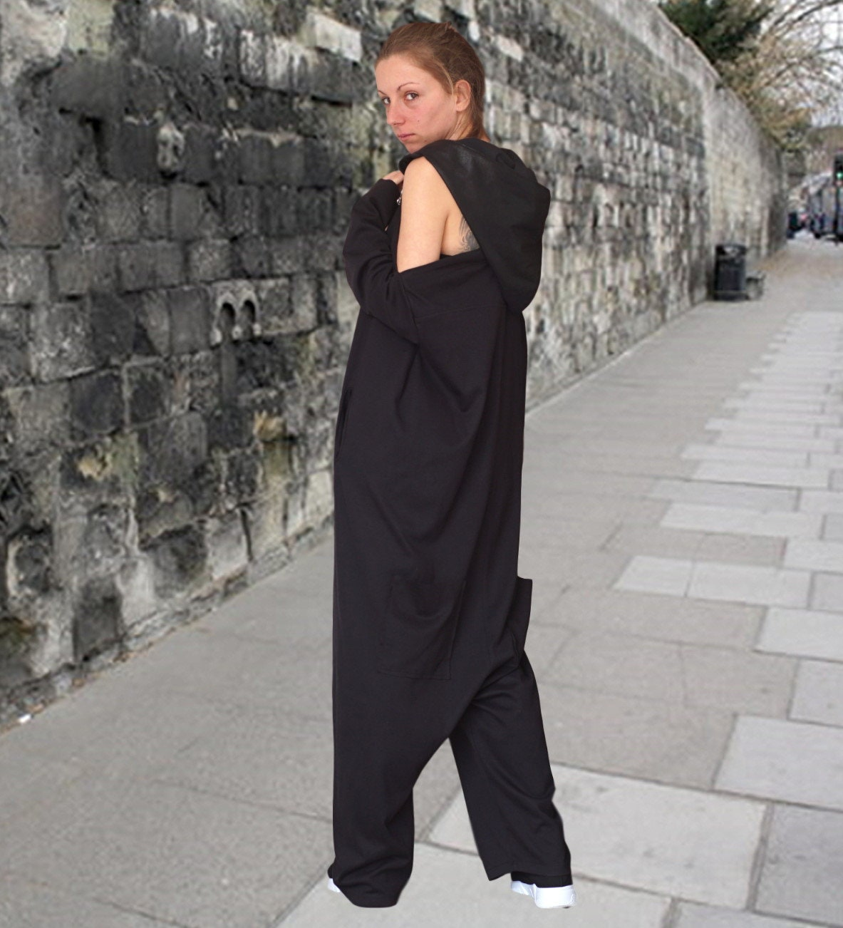 5b3dc2892ca2 Baggy Drop Crotch Overall Spring Hooded Harem Jumpsuit