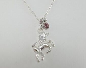 Unicorn Birthstone Necklace, Silver Unicorn Necklace, Unicorn Jewelry, Unicorn Birthstone Jewelry