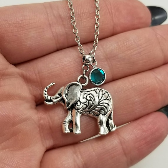 Aquamarine Jewelry Gift ELEPHANT NECKLACE SILVER Mint Blue Crystal Pendant African Blue Opal Stone Tibetan Indian Zoo Lover Gift N5732