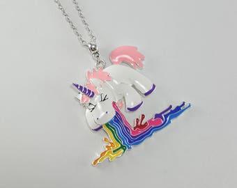 Rainbow Unicorn Necklace, Unicorn Throw Up, Unicorn Jewelry, Unicorn Gift