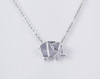 Origami Elephant Necklace, Dainty Silver Elephant Necklace, Elephant Jewelry, Origami Animal Jewelry
