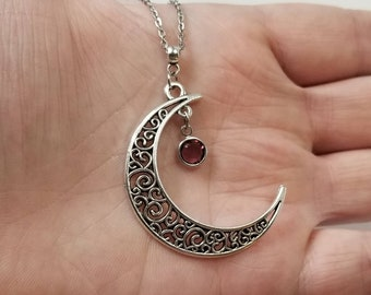 Crescent Moon Necklace, Wiccan Moon Necklace, Wiccan Birthstone Necklace, Celestial Jewelry, Lunar Jewelry, Birthstone Jewelry