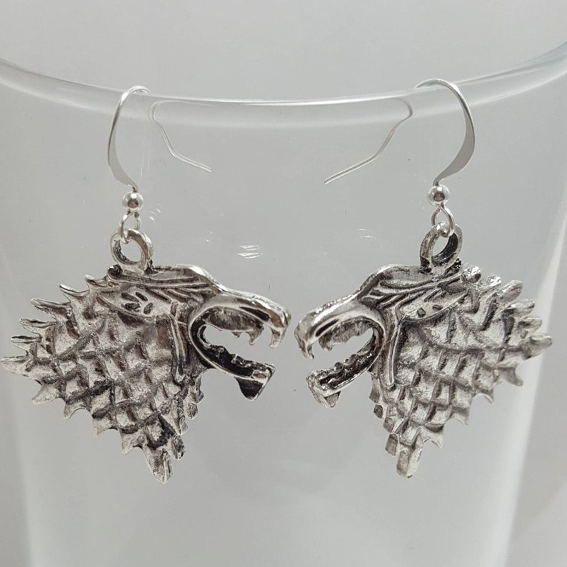 House Stark Earrings Game Of Thrones Earrings Direwolf Sigil Etsy