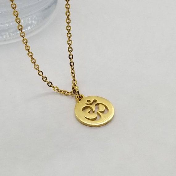 Gold Om Necklace Om Necklace Om Symbol Necklace Dainty Om Etsy