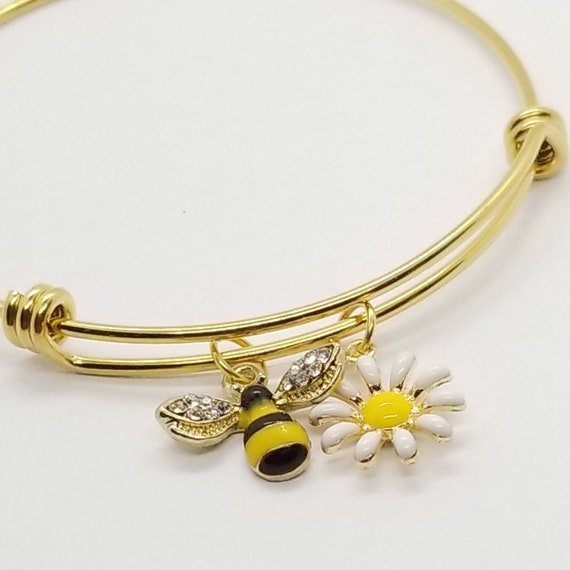 gift for wife Gift for Her Bee Lover 13 gift for bee lover Bee Jewellery Bee Bangle Silver Bangle Bee gifts Bee jewelry