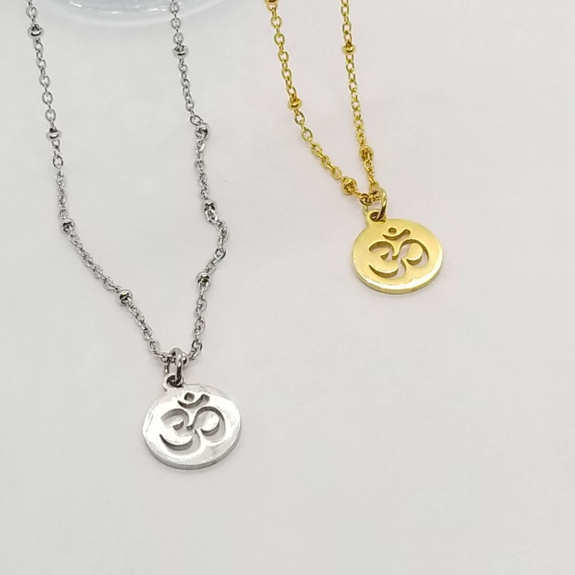 Om Necklace Om Symbol Necklace Yoga Jewelry Om Jewelry Silver Om