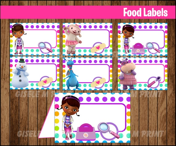 Doc McStuffins Food Labels Printable Tent