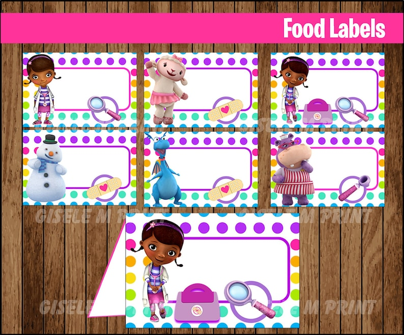 graphic about Printable Doc Mcstuffins known as Document McStuffins Food items Labels, Printable Document McStuffins foods tent playing cards, Document McStuffins occasion food items playing cards immediate down load
