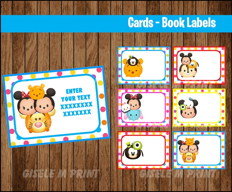 Tsum Tsum Printable Cards, tags, book labels, stickers, kids cards, gift  tags, labeling, scrapbooking EDITABLE INSTANT DOWNLOAD
