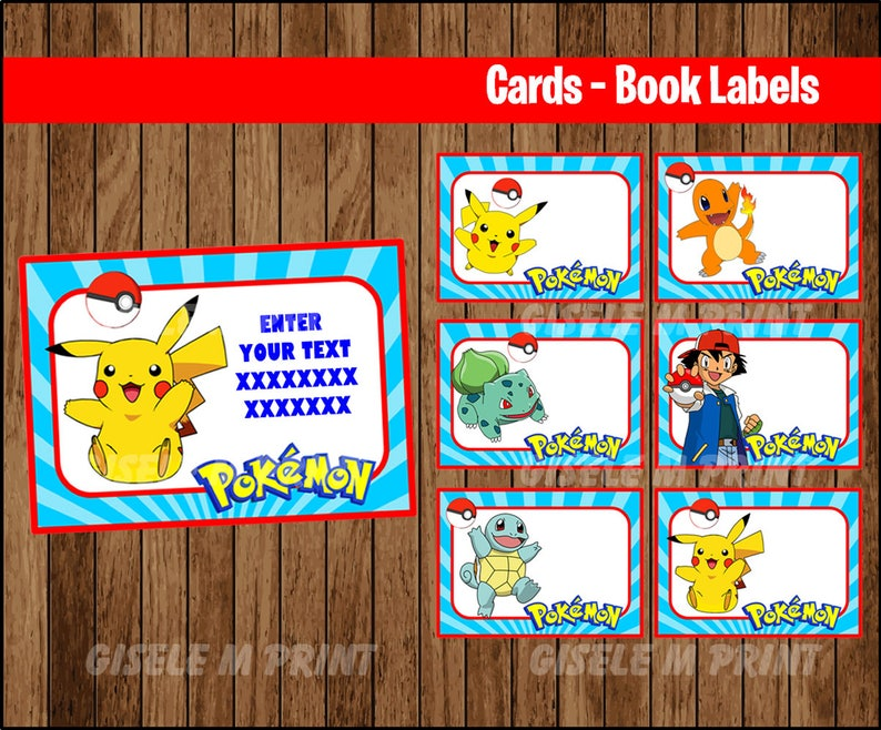 photo about Pokemon Printable Cards known as Pokemon Printable Playing cards, tags, ebook labels, stickers, young children playing cards, present tags, labeling, sbooking EDITABLE Fast Obtain
