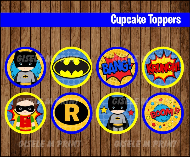graphic relating to Batman Cupcake Toppers Printable named Batman cupcakes toppers, Printable Superhero toppers, Batman Child occasion toppers prompt down load