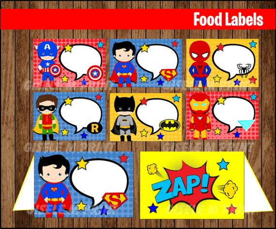 Superhero Food Labels Printable Tent Cards