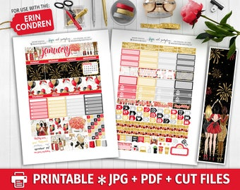 JANUARY MONTHLY KIT View Printable Planner Stickers/for use with Erin Condren/Cutfiles/Monthly Kit/Winter New Years Eve January Chic Red