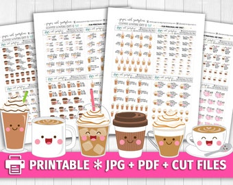COFFEE LOVERS SET 1 Functional Deco/Printable Planner Stickers/for use with Erin Condren/Cutfiles/But First Coffee Latte Espresso Messy Bun