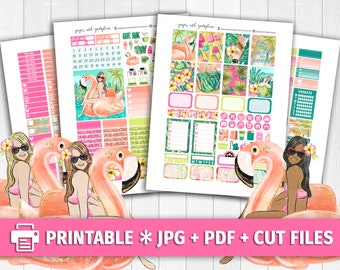 HELLO PARADISE Printable Planner Stickers/Weekly Kit/for use with Erin Condren/Cutfiles Vacation Tropical Summer June Pool Palm Trees