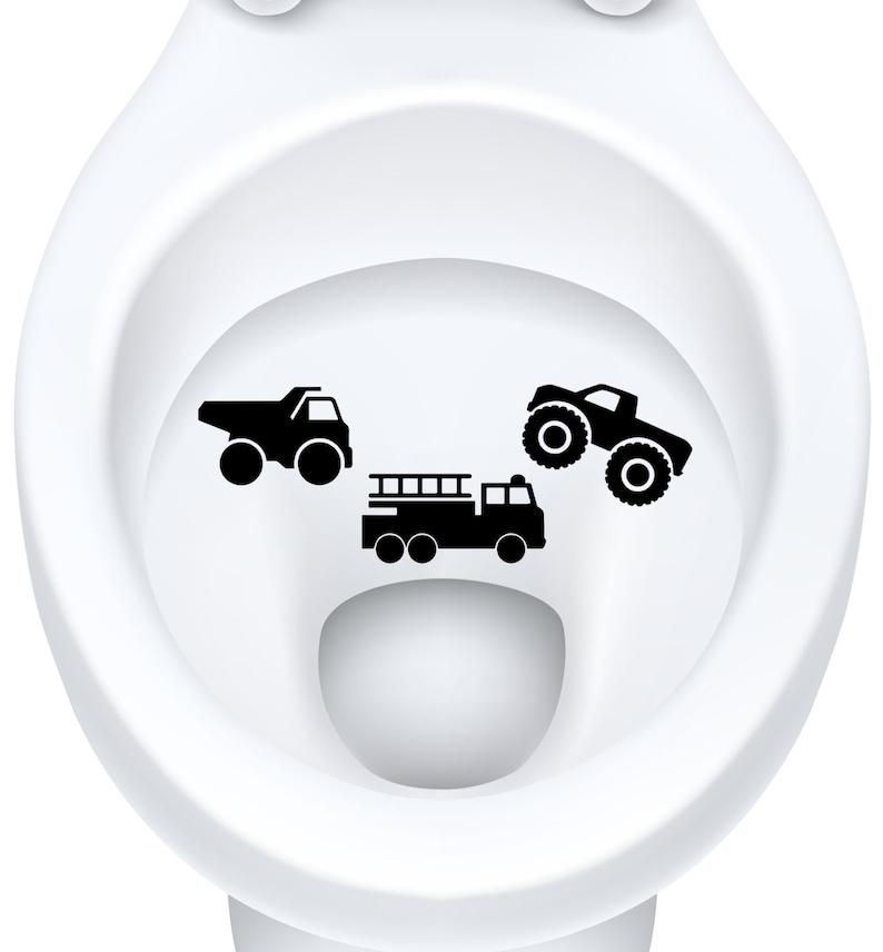 Toilet Targets Trucks Aim Practice 3 Piece Collection Vinyl Decal Sticker Application Kids Fun