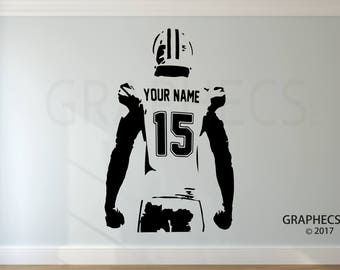 Wonderful Personalized Custom Football Wall Decal   Choose Your NAME U0026 NUMBERS Custom  Player Jerseys Vinyl Decal