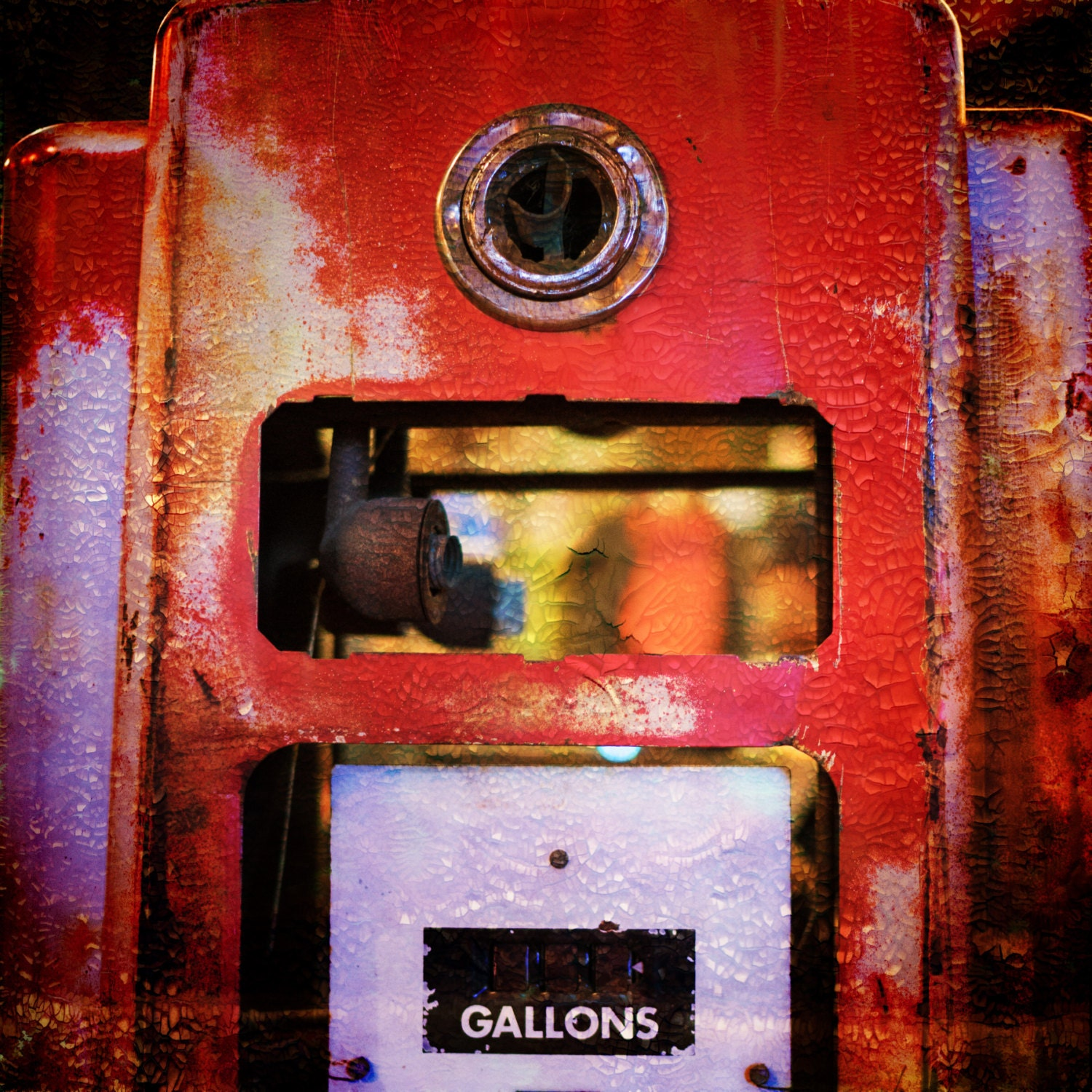 Antique red gas pump, Nashville retro and vintage collectable shop,  artistic street photography