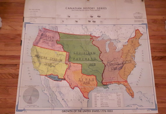Mid Century School Map Growth Of The United States 1776 Etsy