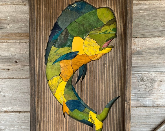 Recycled Skateboard Mosaic Mahi Wall Decor