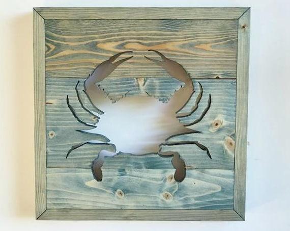 Handmade Wood Blue Crab Wall Decor