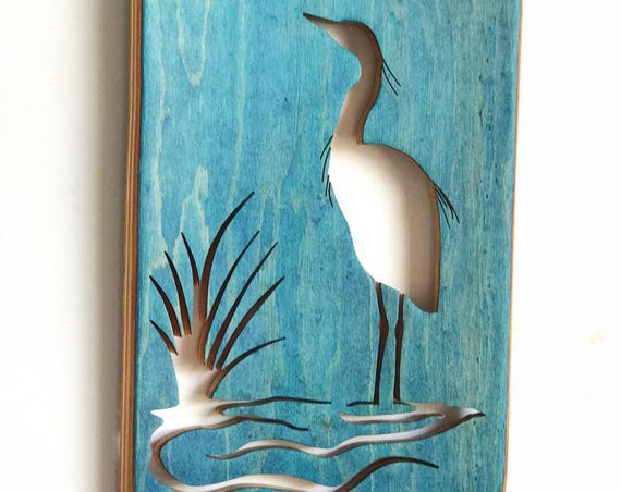 Handmade Recycled Skateboard Heron Wall Decor