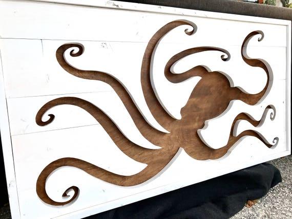 Handmade Framed Wood Octopus Wall Hanging / Custom Home Decor / Beach Interior Design / Hand drawn
